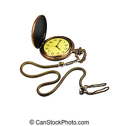 pocket watch - Picture of isolated pocket watch with white...
