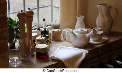 kitchen accessories on a windowsill - windowsill with...