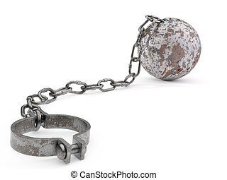 Rusty Ball and Chain - Rusty ball and chain isolated on a...
