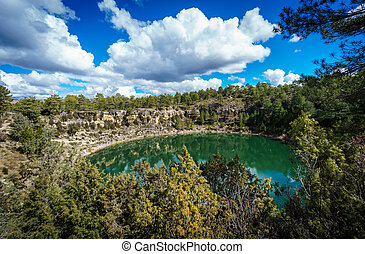 The round lakes in palancares, Cuenca - Wide angle of round...