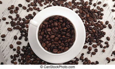 Morning coffee Coffee magic Roasted coffee beans turn into...
