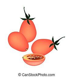 Fresh Red Grape Tomatoes on White Background