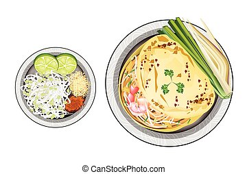Pad Thai or Stir Fried Noodles Wrapped with Omelet - Thai...