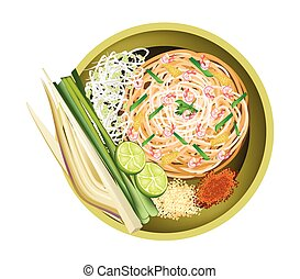 Pad Thai or Traditional Stir Fried Noodles with Shrimps -...