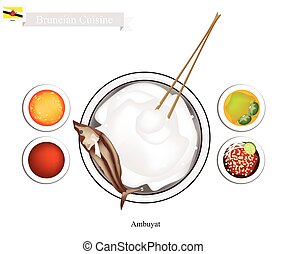 Ambuyat or Bruneian Steamed Sago Starch with Local Dishes -...