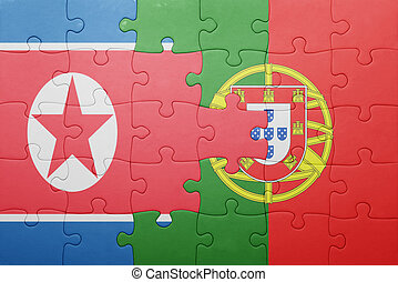 puzzle with the national flag of portugal and north korea...