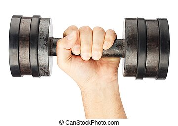 Old dumbbell with removable weights in hand isolated on...