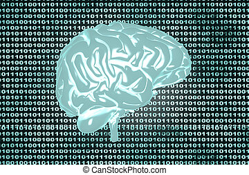 Brain code - Artificial intelligence and coded brain. 3D...