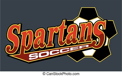 spartans soccer team design with ball and tail for school,...