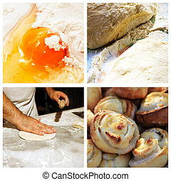 Collage Prepared pies - Collage of 4 pictures of cooking...