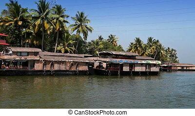 India. Houseboat on Kerala backwaters - India Houseboat on...