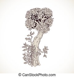 Magic forest hand drawn from trees by a vintage font - I