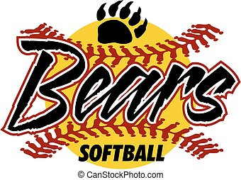 bears softball team design with stitches and claw for...