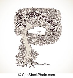 Magic forest hand drawn from trees by a vintage font - P