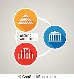 Vector flat Ancient Architecture - Vector flat illustration...