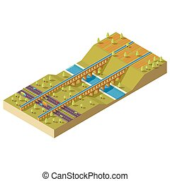 Isometric aqueduct over the river. Isometric landscape