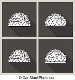geodesic dome Vector flat - Abstract icon geodesic dome...