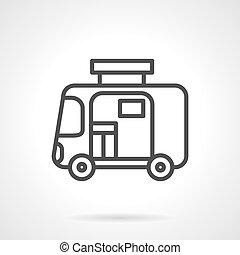 Travel trailer simple line vector icon