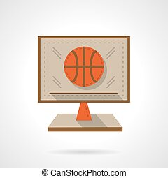 Basketball online flat color design vector icon - Online...