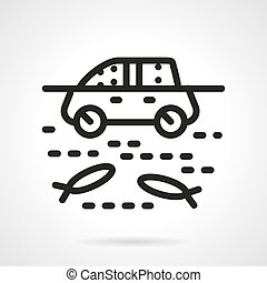 Automobile in water simple line vector icon - Insurance car...