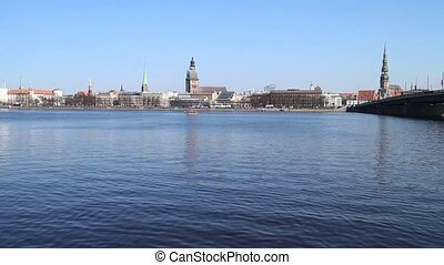 View of Riga Old Town and Daugava river, Latvia