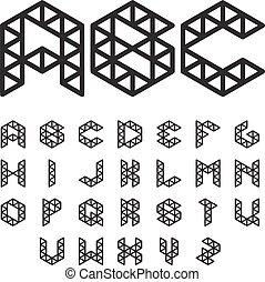 Polygonal Font, Abc, Alphabet
