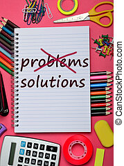 Problems Solutions words on notebook page