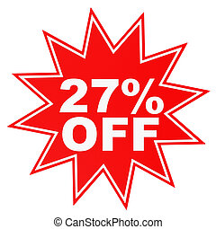 Discount 27 percent off. 3D illustration. - Discount 27...