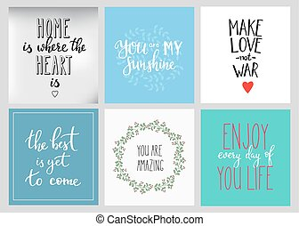 Lettering postcard quotes set. Motivational quote. Sweet...