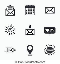Mail envelope icons Message document symbols - Calendar,...