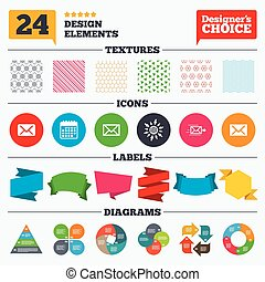 Mail envelope icons Message symbols - Banner tags, stickers...