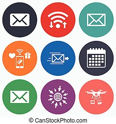 Mail envelope icons Message symbols - Wifi, mobile payments...