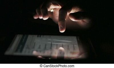 Hand touching screen of tablet-PC Man swiping pages Modern...