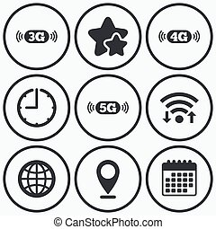 Mobile telecommunications icons 3G, 4G and 5G - Clock, wifi...