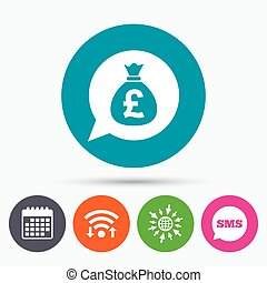 Money bag sign icon Pound GBP currency - Wifi, Sms and...