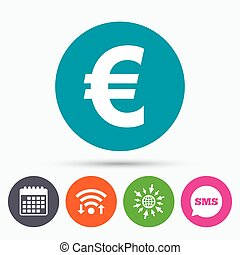 Euro sign icon EUR currency symbol - Wifi, Sms and calendar...