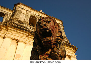 Statue of lion guarding Leon Cathedral, Nicaragua