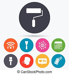 Paint roller, brush icon Spray can and Spatula - Wifi, like...