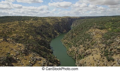 Aerial view over canyon - Arribes del Duero in Zamora,...