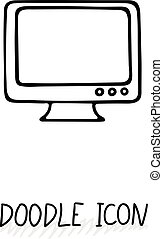 Doodle icon of monitor Desktop computer, monoblock Office...