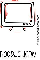 Doodle icon of monitor. Desktop computer, monoblock. Office...