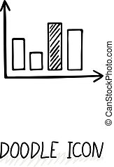 Vector doodle diagram icon. Chart with columns. - Vector...