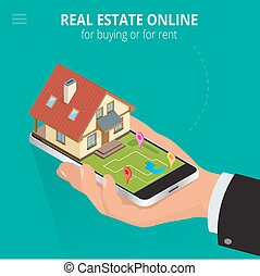 Real estate Online for buying or for rent. Man working with smartphone is looking for a house for buying or for rent, using online searching service. Flat 3d vector isometric illustration.