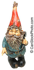 Adorable Lawn Gnome with Hammer over white
