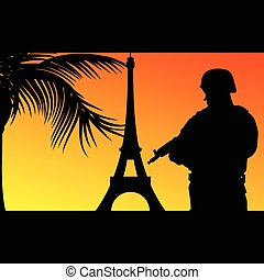 soldier with eiffel tower illustration silhouette