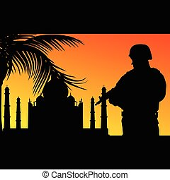 soldier with religious monument silhouette illustration in...