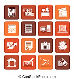 inance and office icons - Flat bank, business, finance and...