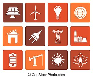 power, energy and electricity icons - Flat power, energy and...