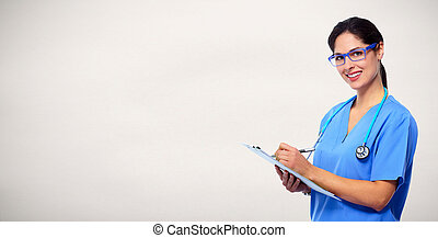 Medical doctor writing prescription - Medical nurse woman...