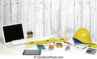 Office table with objects.
